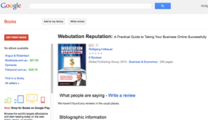 Webutation The Book in Google Books